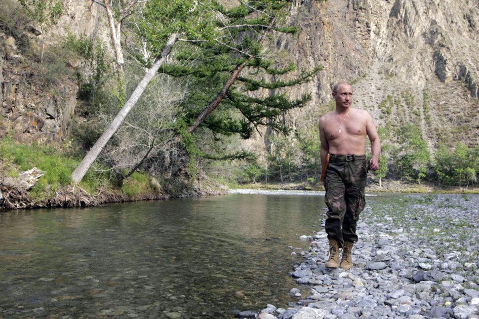 Włodzimierz Putin na wakacjach na Syberii. (2009)
