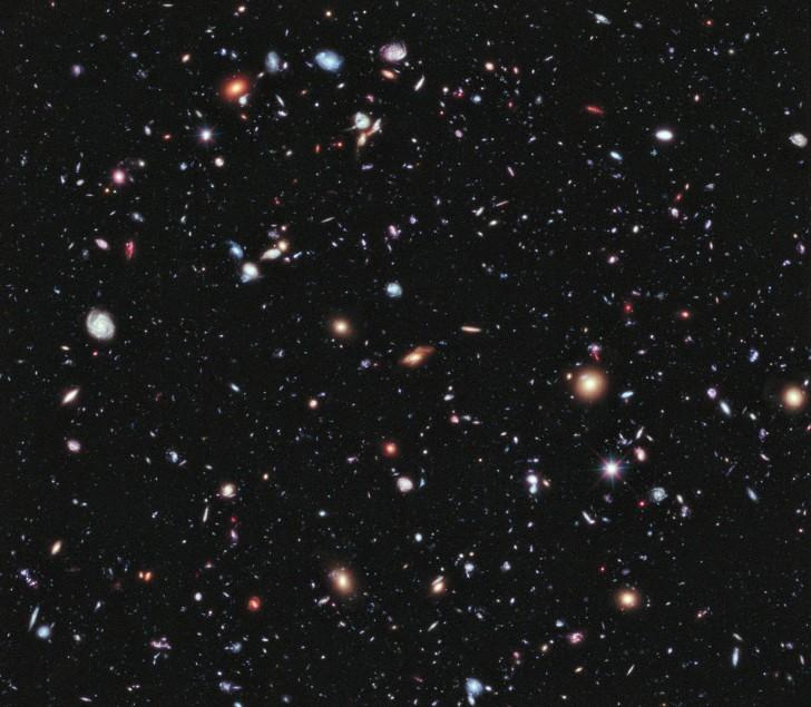 Setki galaktyk widzianych za pomocą Głębokiego Pola Hubble'a, tak, jak wyglądały 10 miliardów lat temu.