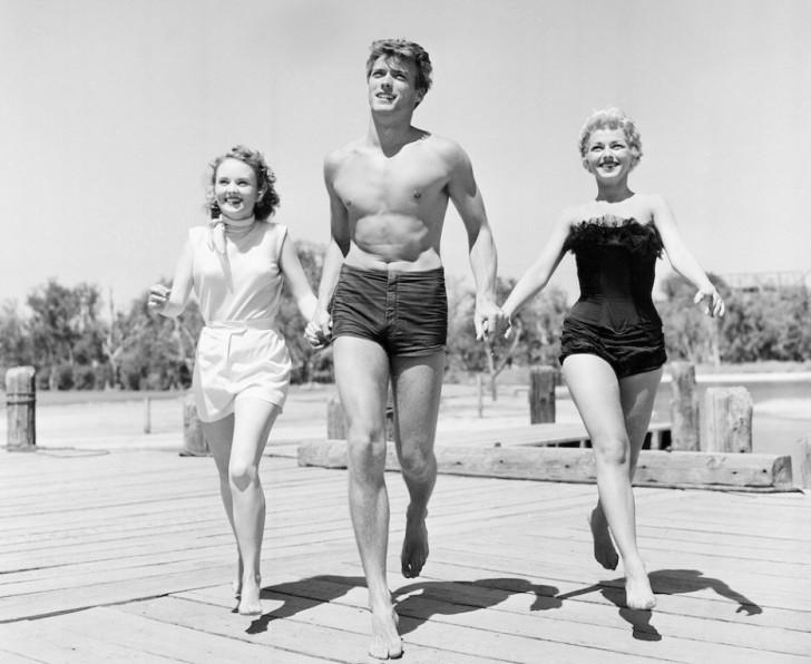 Clint Eastwood z aktorkami Olive Sturgess i Dani Crayne w San Francisco (1954)