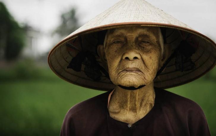 Wietnamska farmerka zbierająca ryż