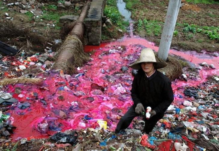 Kobieta zbierająca z wody plastikowe butelki.