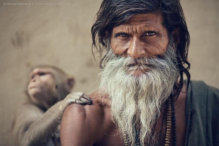 Sadhu and Monkey - Anton Jankovoy