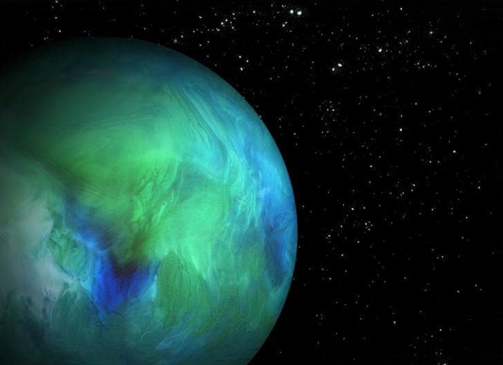 Planeta - spód szklanki z wodą i barwnikiem. Gwiazdy - sól, cynamon, proszek do pieczenia.