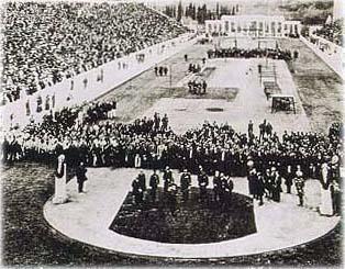 Ceremonia otwarcia podczas pierwszych igrzysk w 1896 roku. Źródło: Wikipedia.pl