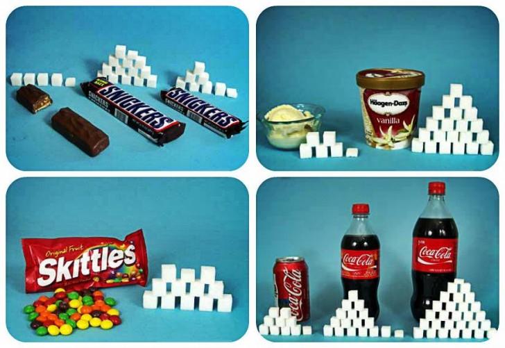 Zobrazowana ilość cukru w popularnych produktach