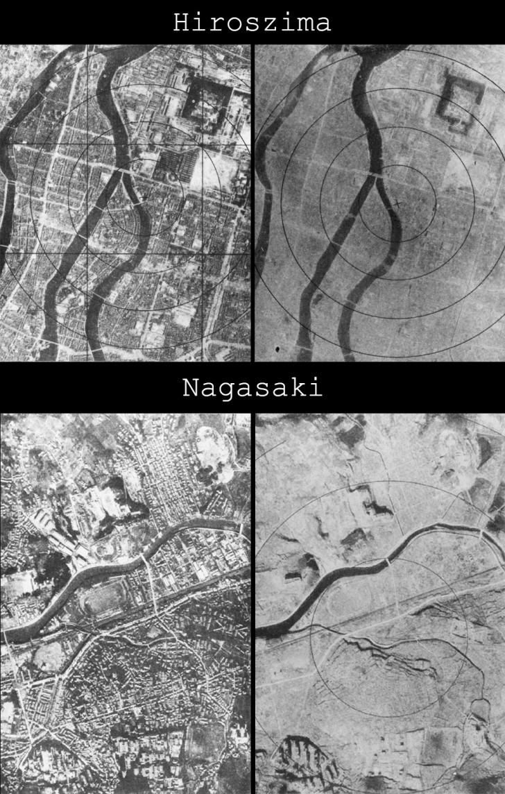 Hiroszima oraz Nagasaki przed i po wybuchu bomby atomowej - miasta zostały dosłownie starte z powierzchni ziemi