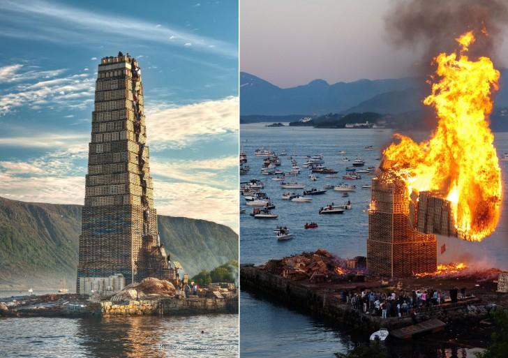 Największe na świecie ognisko stworzone z europalet ułożonych do wysokości 40m w Alesund (Norwegia) w 2010 r.