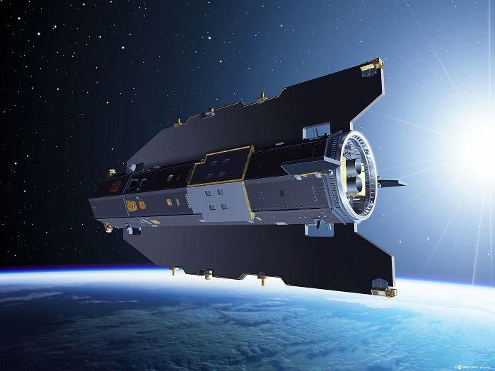 Wizualizacja satelity GOCE na orbicie (źródło ESA)