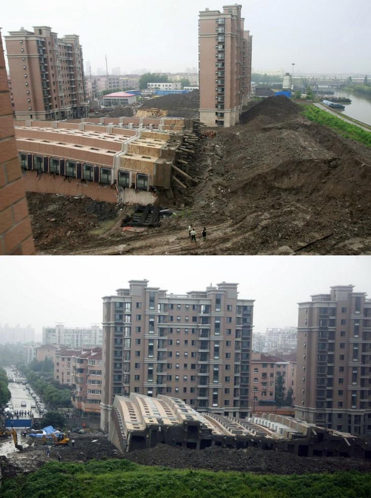 Przewrócenie się bloku nr 7 w kompleksie mieszkaniowym Lotus Riverside w Szanghaju spowodowane pracami nad garażem podziemnym (2009 r.)