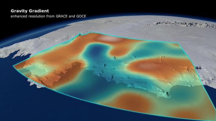 Wizualizacja pola grawitacyjnego w Antarktydzie Zachodniej. (Fot. ESA/DGFI/Planetary visions)