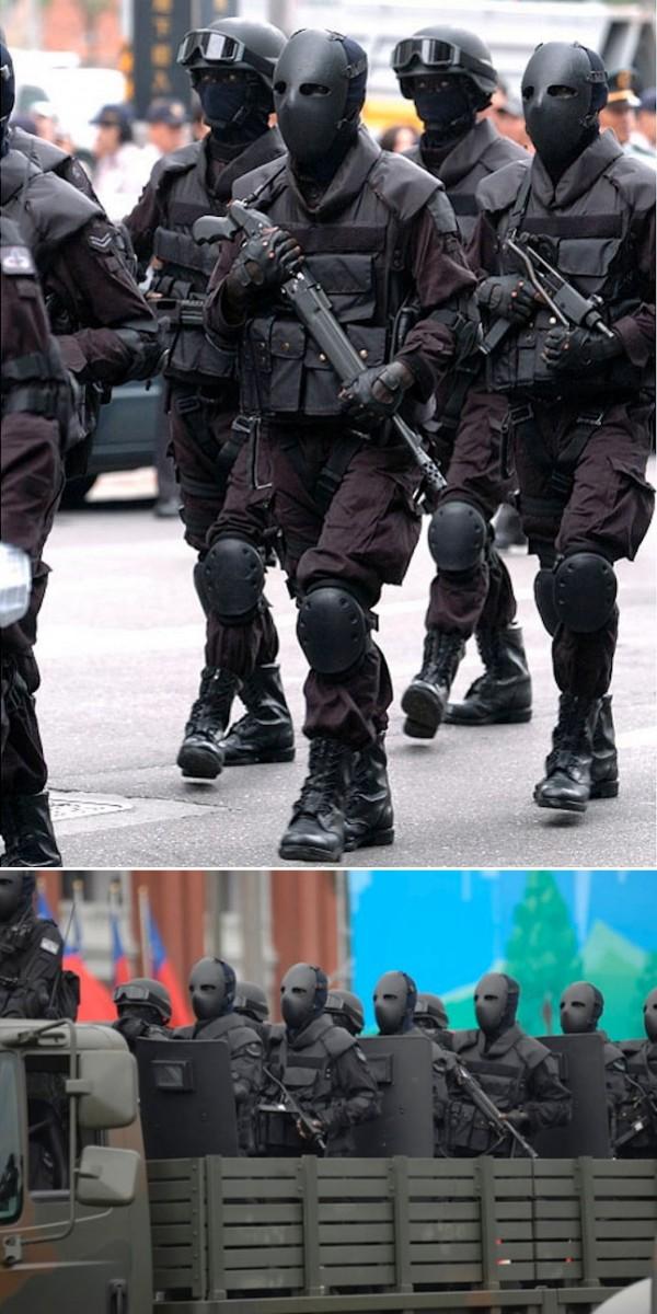 Uniformy tajwańskich służb specjalnych - maska wykonana jest z kevlaru i waży nieco ponad kilogram, klasa opancerzenia to Typ II