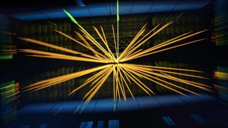 Dwa protony zderzające się w Wielkim Zderzaczu Hadronów