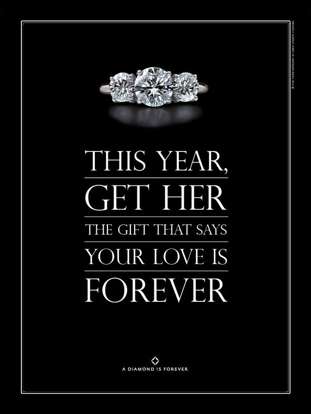 Aujourd'hui encore, les campagnes publicitaires de la De Beers pour les diamants taillés sont signées du slogan 'A diamond is forever'.