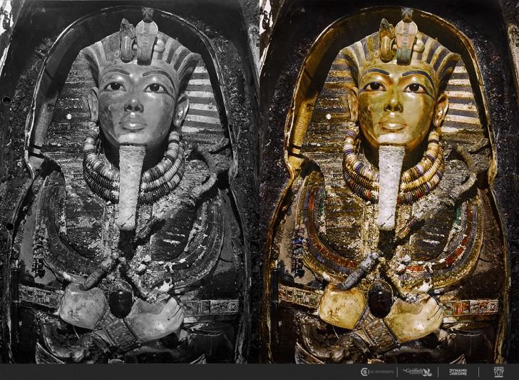 Zdjęcia z odkrycia grobu Tutanchamona pierwszy raz w kolorze