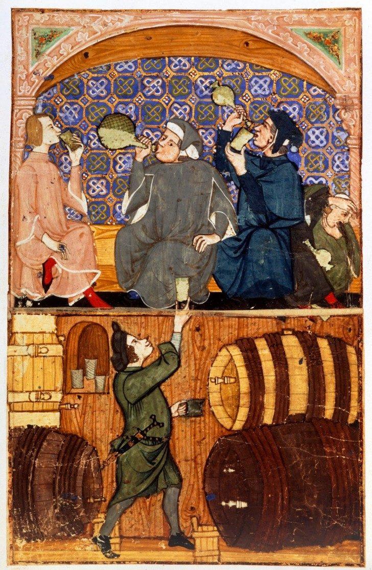 uomini bevono, con un celleraio sotto, tardo XIV secolo, British Library Board