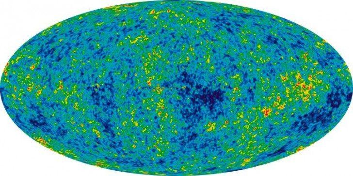 Promieniowanie reliktowe (mikrofalowe promieniowanie tła) zbadane mapa wykonana przez sondę WMAP