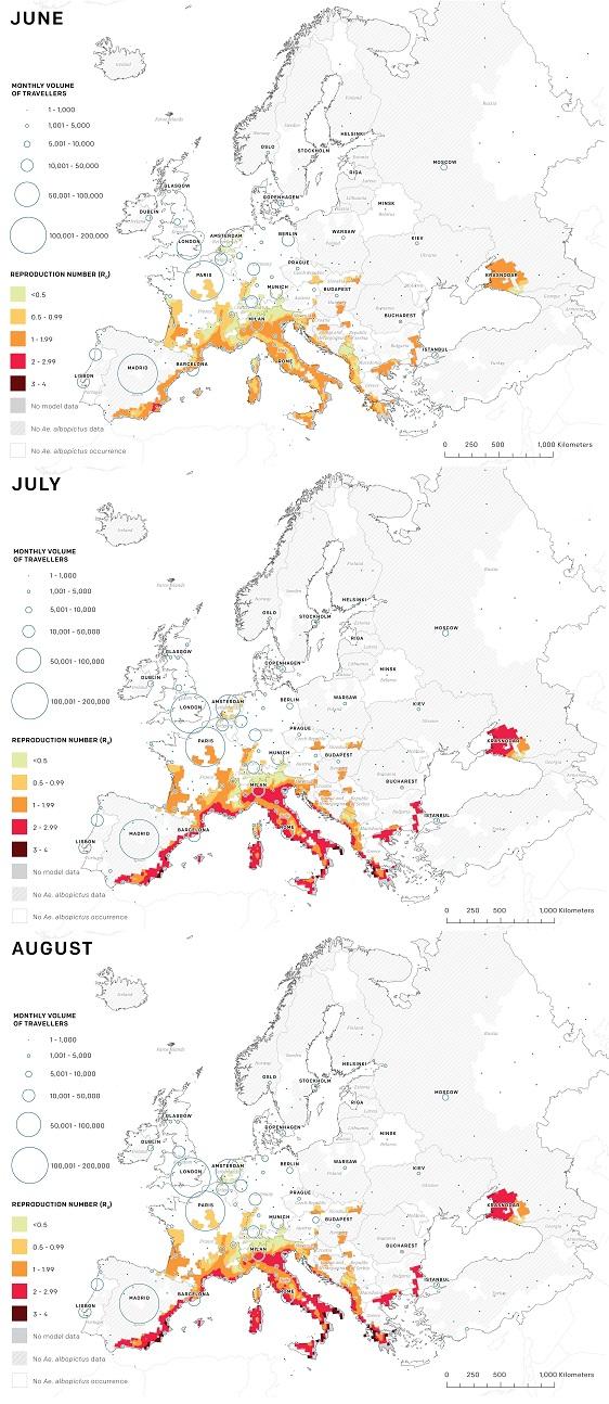 obszary zagrożone wirusem ZIKA w okresie od czerwca do sierpnia. Reproduction Numbr określa szacowaną stopę wzrostu epidemii ZIKA, na poziomie poniżej 1 epidemia zanika. Na poziomie wyższym niż 1 epidemia wzrasta wykładniczo.