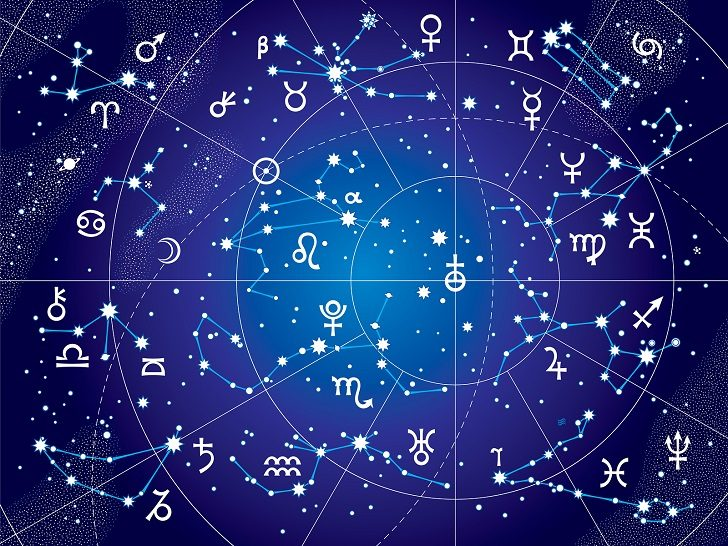XII Constellations of Zodiac and Its Planets the Sovereigns. Astrological Celestial Chart. (Ultraviolet Blueprint version).