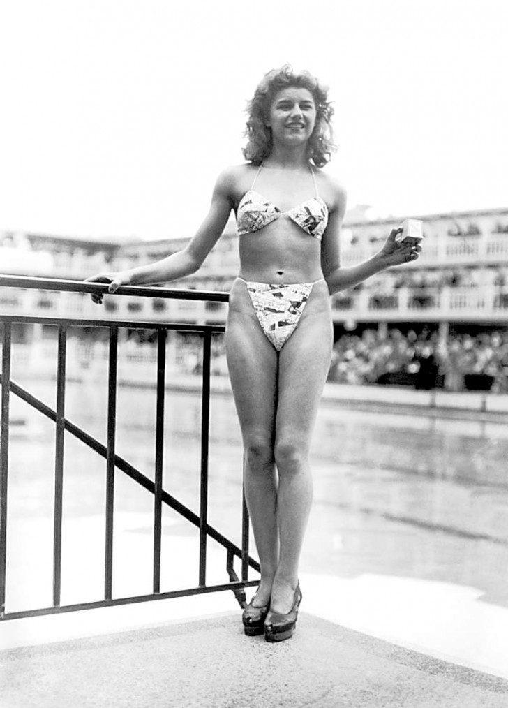 Micheline Bernardini pierwsza modelka reklamująca kostiumy bikini, 1946.