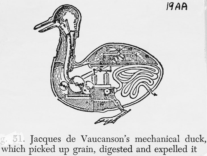 Jacques de Vaucanson's mechanical duck, which picked up grain, digested and expelled it. --- Image by © Bettmann/Corbis