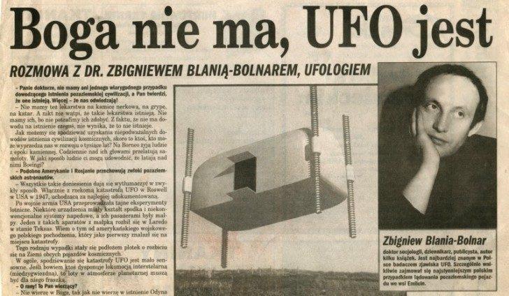 Jeden z artykułów Zbigniewa Blani. Na zdjęciu wizja domniemanego UFO z Emilcina. Źródło: bartoszrdultowski.blogspot.com