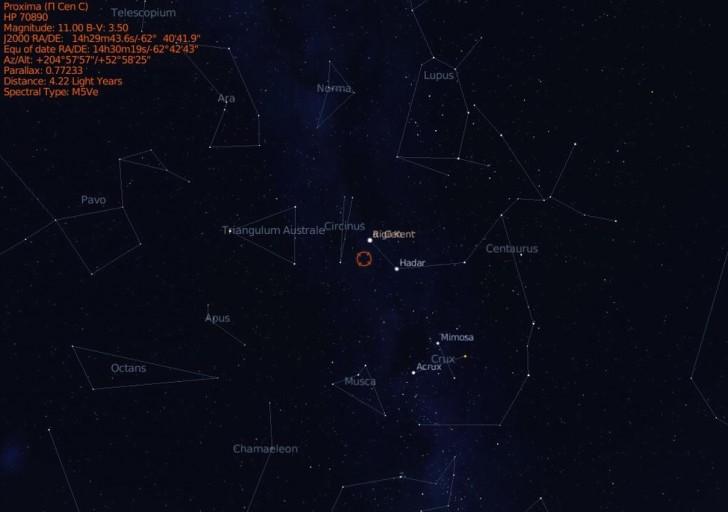 Proxima Centauri zlokalizowana na nocnym niebie. Źródło: frontierastro.co.uk