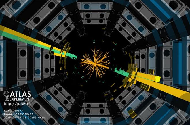 Detektor ATLAS w Large Hadron Collider podniósł ten strumień cząstek (żółte i zielone paski), gdy protony zderzają się energii 13 TeV.