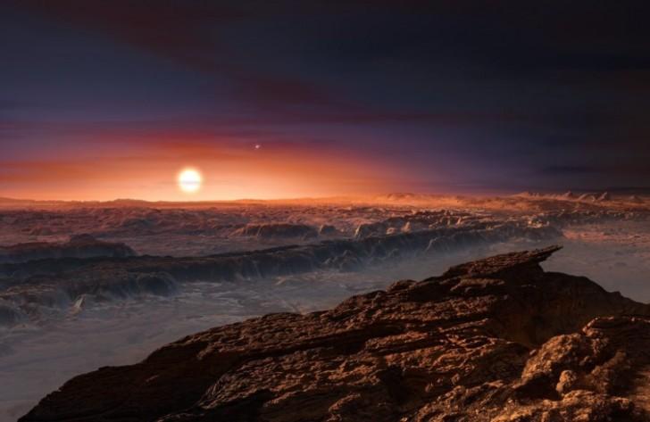 Wyobrażenie artystyczne przedstawiające widok z powierzchni planety Proxima b krążącą wokół czerwonego karła Proxima Centauri najbliższą gwiazdę do Systemu Słonecznego. Podwójna gwiazda Alfa Centauri AB pojawia się również w obrazie do górnej prawej części samego Proxima.