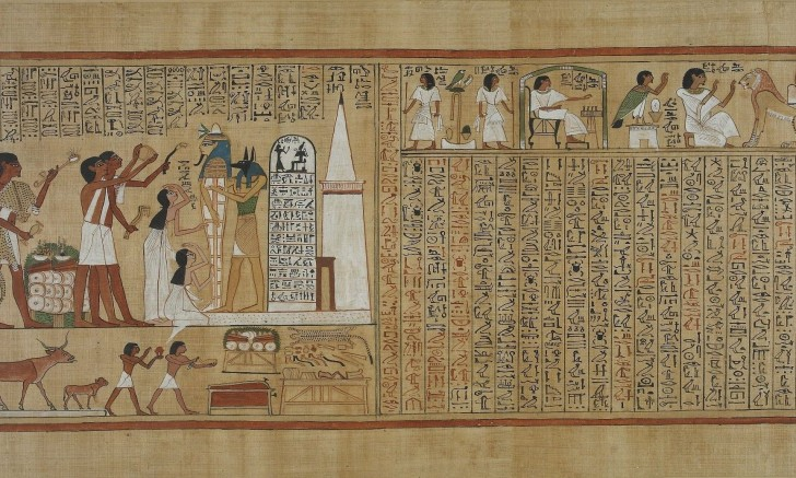 """Fragment panelu z egipską """"Księgą umarłych""""."""