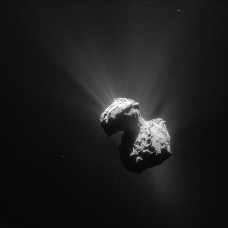 Jądro komety 67P sfotografowane 7 lipca 2015. Widoczne są liczne strumienie wyrzucanego pyłu. Źródło: wikipedia
