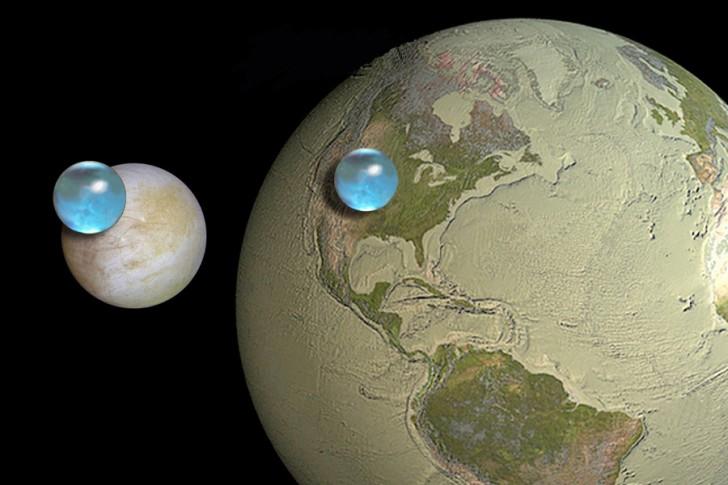 Porównanie całkowitej ilości wody na Europie i na Ziemi. Źródło: APOD | Kevin Hand (JPL/Caltech), Jack Cook (Woods Hole Oceanographic Institution), Howard Perlman (USGS)