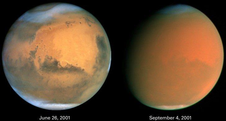 Mars w czerwcu 2001 roku i podczas burzy piaskowej we wrześniu 2001, zdjęcia Kosmicznego Teleskopu Hubble'a