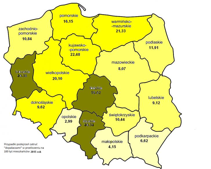 Mapa przedstawia liczbę podejrzeń zatruć dopalaczami z podziałem na województwa w przeliczeniu na 100 tyś. mieszkańców. Średnia krajowa w całym 2015 roku wyniosła 18,92 przypadków na 100 tysięcy. Źródło: GIS