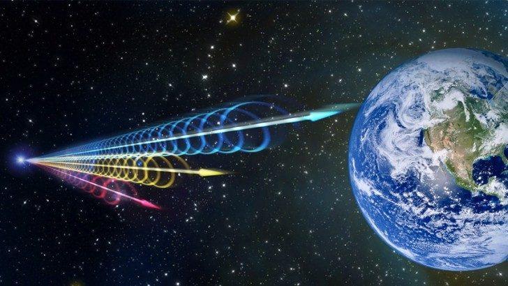 Koncepcja artystyczna FRB docierających do ziemi. Źródło: Jingchuan Yu, Beijing Planetarium