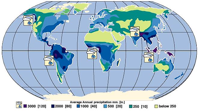 Roczna ilość opadów na świecie. Źródło: earth.rice.edu