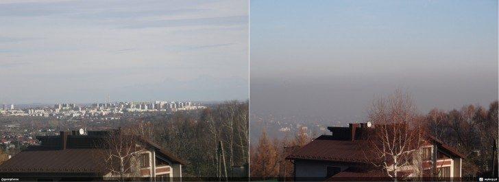 Różnica pomiędzy czystym niebem (po lewej), a smogiem (po prawej). Źródło: wiatrowa.blox.pl
