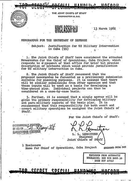 Memorandum Operacji Northwoods. Źródło: wikipedia