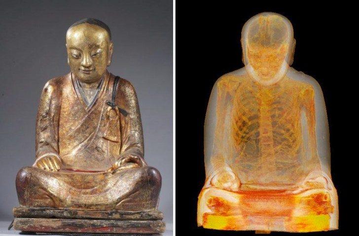 Tomografia komputerowa ujawniła w środku 100 letniej statuy Buddy, ciało mnicha.