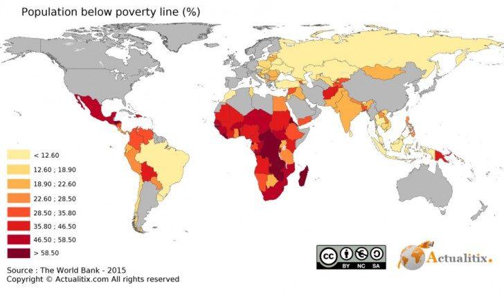 Procentowy rozkład ludności w danym kraju, żyjącej poniżej poziomu ubóstwa.