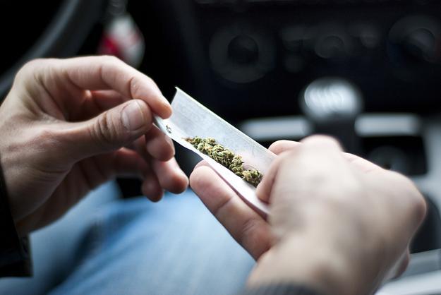 Zdjęcie osoby zwijającej skręta z marihuaną w samochodzie, alkomat thc