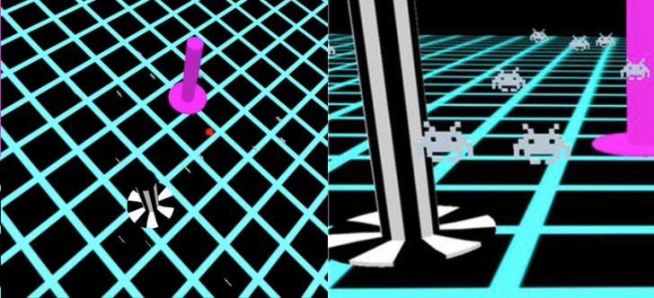 """Na zdjęciu widoczne stado hologramowych ufoludków z gry Space Invaders """"latających"""" w zbiorniku wokół rybki. Oprócz tego znajdują się tu dwa słupki różniące się kolorem."""