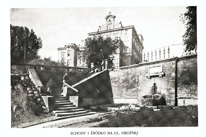 Ciekawe.org Widoki Warszawy 1899 r. Schody i źródło na ulicy Oboźnej