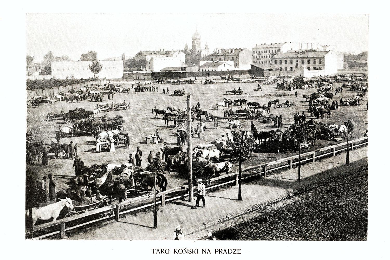 Ciekawe.org Widoki Warszawy 1899 r. Targ koński na Pradze