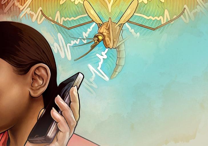 Rysunek przedstawia osobę trzymającą telefon przy uchu. Nad jej głową lata komar.
