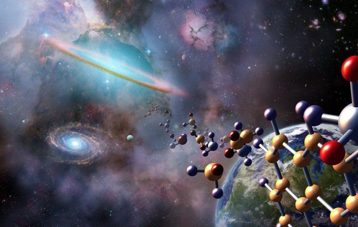 Obrazek przedstawia kosmos, Ziemię oraz cząsteczki chemiczne. Wyjątkowo artystyczna wizja.