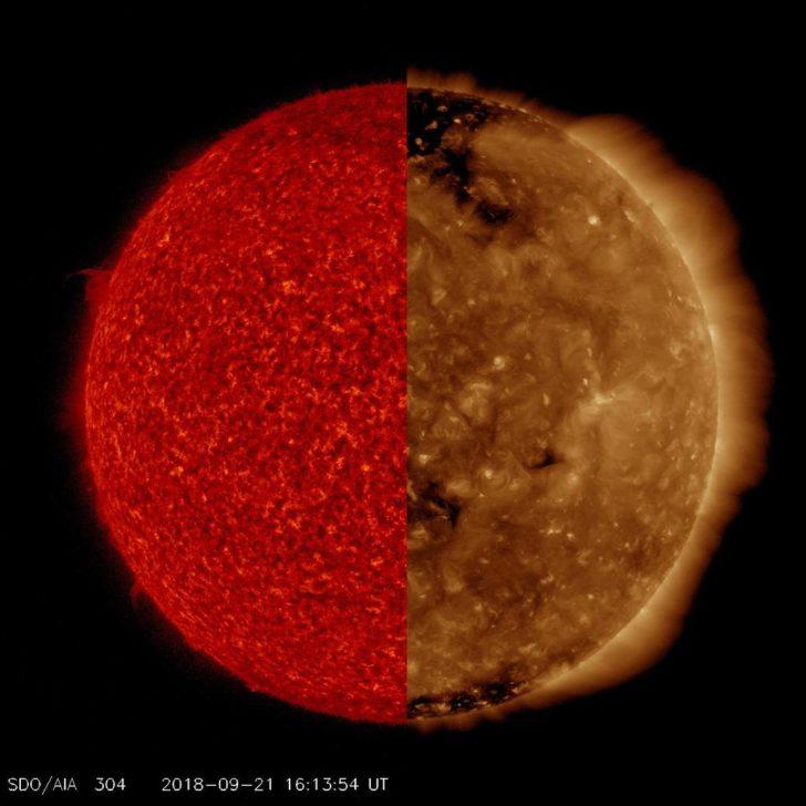 Słońce - dwie długości fal, dwa obrazy