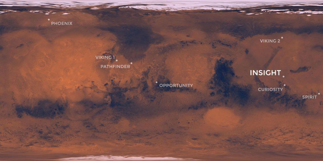 Sonda InSight miejsce lądowania na Marsie
